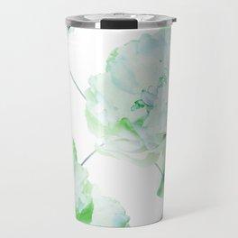 Abstract Geometric Lines Green Peonies Flowers Design Travel Mug