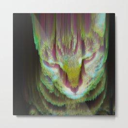 Glitch_art: Moog, the glitch cat Metal Print