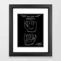 Baseball Glove Patent - Black Framed Art Print