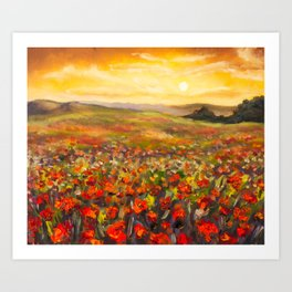Field of red poppies at sunset in valley of mountains Original flowers oil painting on canvas. Impre Art Print