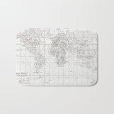 World Map ~ White on White Bath Mat