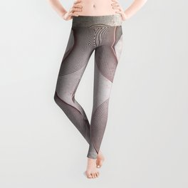 Geometrical Line Art Circle Distressed Rosegold Leggings
