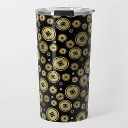 Chinese Coin Pattern Gold on Black Travel Mug