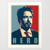 tony stark Art Prints featuring Tony Stark by Cadies Graphic