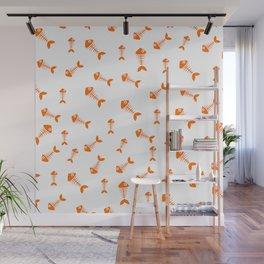 Orange fishbone pattern Wall Mural