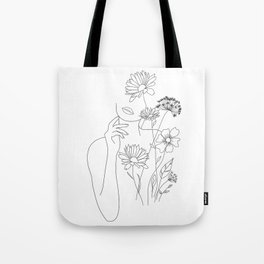 Minimal Line Art Woman with Flowers III Tote Bag