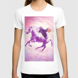Space Sloth Riding On Flying Unicorn With Pizza T-shirt