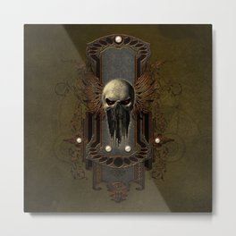 Amazing skull with wings Metal Print