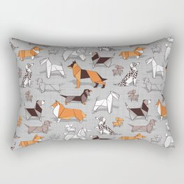 Origami doggie friends // grey linen texture background Rectangular Pillow