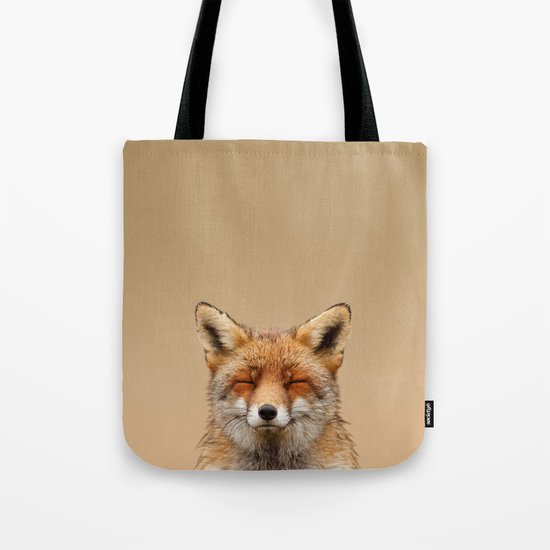 Zen Fox (Red Fox smiling) Tote Bag