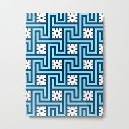 Deco Greek Key, Sky Blue and Navy Metal Print