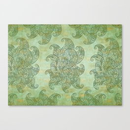 Green Grunge Feathers Canvas Print