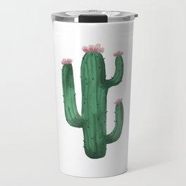 Cactus. Blooming cactus. Watercolor. Travel Mug