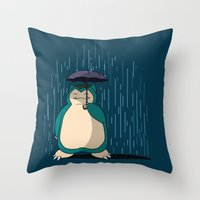 snorlax Throw Pillows featuring My Neighbor Snorlax by EnoLa
