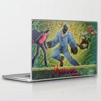 robin hood Laptop & iPad Skins featuring DRACULA VS. ROBIN HOOD VS. JEKYLL & HYDE! by Eco Comics