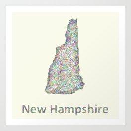 New Hampshire map Art Print