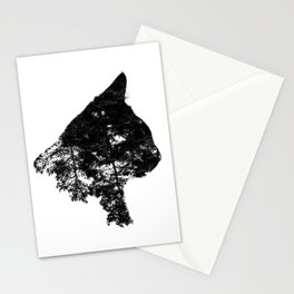 Double exposure black cat Stationery Cards
