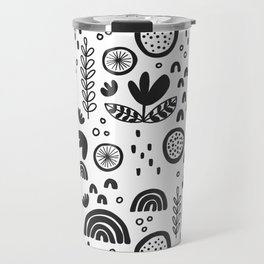 black&white pattern love Travel Mug