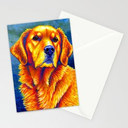 Colorful Golden Retriever Dog Portrait Stationery Cards