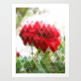 Red Rose with Light 1 Art Triangles 2 Art Print