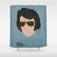 elvis presley Shower Curtains featuring Rock Legends - Elvis Presley by sbs' things