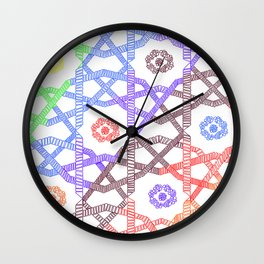 Abstract Geometric Rainbow Squares Wall Clock