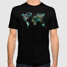Map of the World tree 2X-LARGE Black Mens Fitted Tee