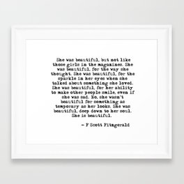 She was beautiful - Fitzgerald quote Framed Art Print