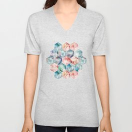 Earth and Sky Hexagon Watercolor Unisex V-Neck