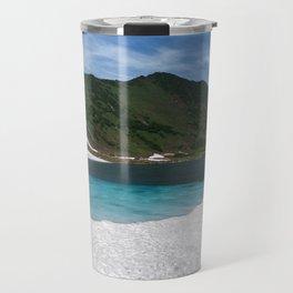 Fantastically summer mountain landscape of Kamchatka Peninsula: Blue Lake, snow and ice along shores Travel Mug