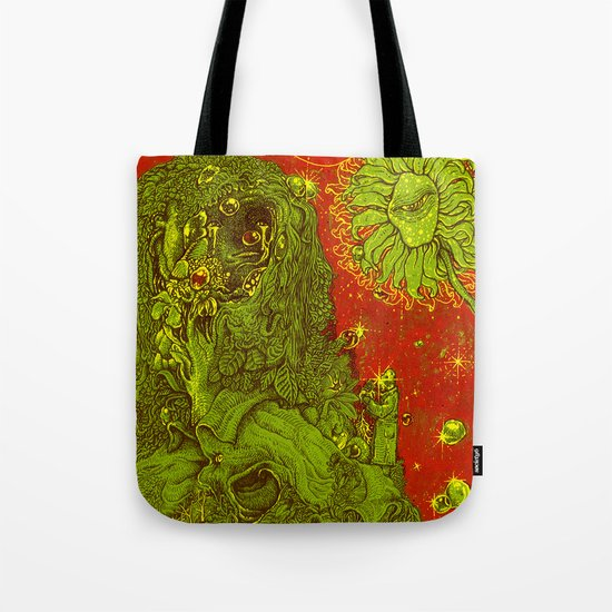 Sunflower green & Red Sky Tote Bag