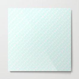 Pale Blue Zig Zag Metal Print