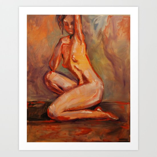 Nude in Red-Orange Art Print