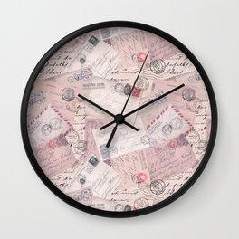 Nostalgic Letter and Postcard Collage Soft Pink Wall Clock