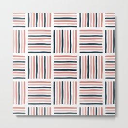 Navy & Sahara Stripe Metal Print