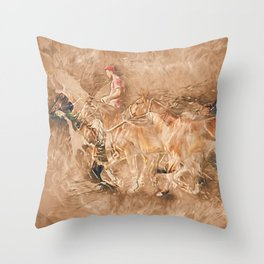 Abstract master of the horse Throw Pillow