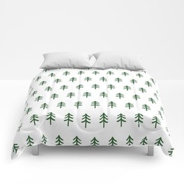 Hand drawn forest green trees Comforters