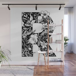 Floral Letter R Wall Mural