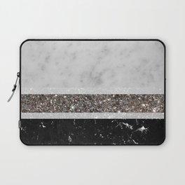 White and Black Marble Silver Glitter Stripe Glam #1 #minimal #decor #art #society6 Laptop Sleeve