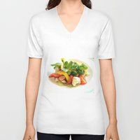 cooking V-neck T-shirts featuring COOKING MASTER by OeildePHI