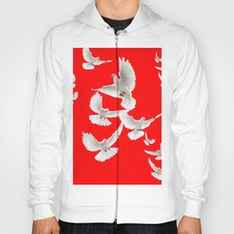 FLOCK OF WHITE PEACE DOVES ON RED COLOR Hoody