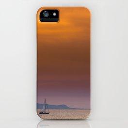 Yacht sailing towards Catalina Island iPhone Case
