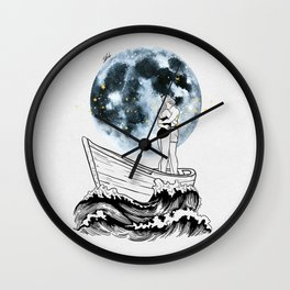 Night above the moon. Wall Clock