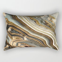 White Gold Agate Abstract Rectangular Pillow