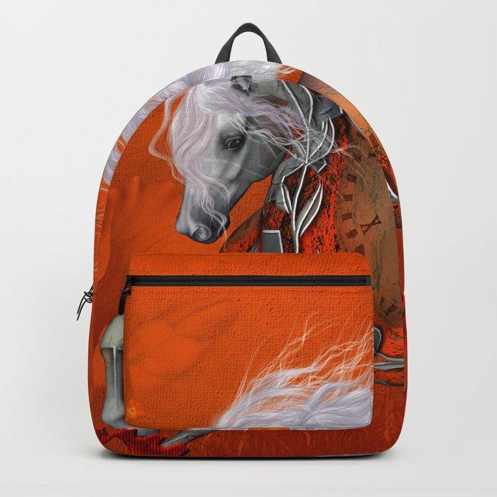Steampunk, wonderful wild steampunk horse Backpack