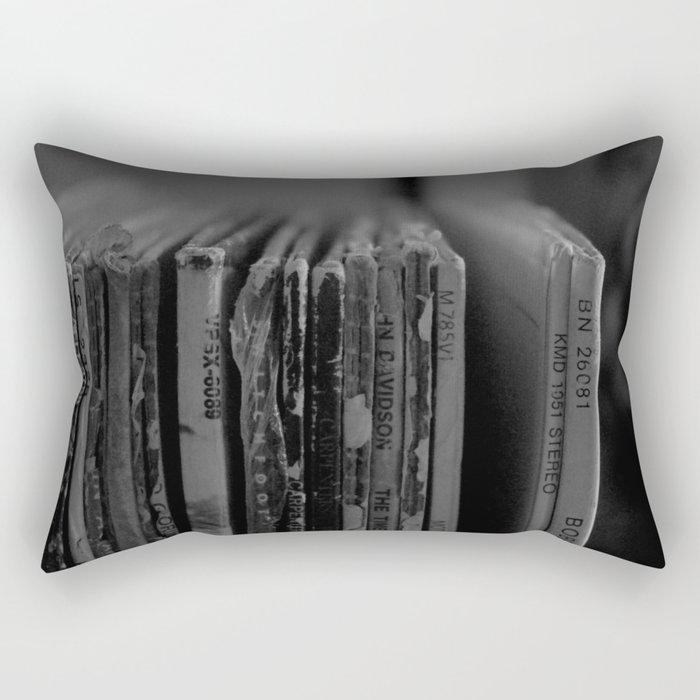 Records Black and White Rectangular Pillow