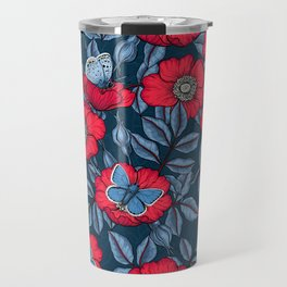 Dog rose and butterflies in red and blue Travel Mug