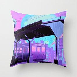 Train to Midnight City Throw Pillow