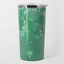 Elegant green white abstract starry Christmas pattern Travel Mug
