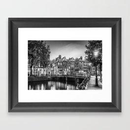 AMSTERDAM Idyllic impression from Singel | Monochrome Framed Art Print